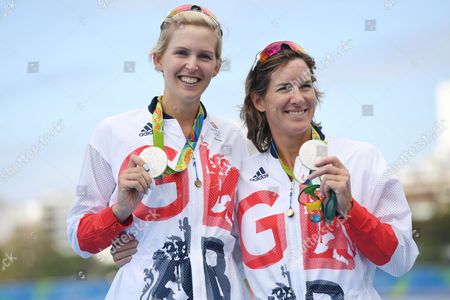 Helen Glover And Victoria Thornley Come Second In The Women's Coxless Pair Rio Olympics Brazil. Rowing Gb.