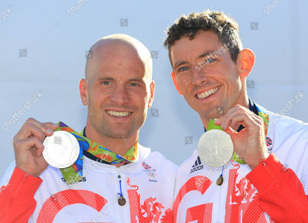 Editorial photo of David Florence And Richard Hounslow After They Were Awarded The Silver Medal In The Men's Final Of The Canoe Double (c2) At The Whitewater Stadium Rio De Janeiro. Rio Olympics 2016 Picture - Mark Large ... 11.08.16.