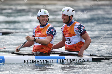 Editorial image of David Florence And Richard Hounslow Take Silver In The Men's Final Of The Canoe Double (c2) At The Whitewater Stadium Rio De Janeiro. Rio Olympics 2016 Picture - Mark Large ... 11.08.16.