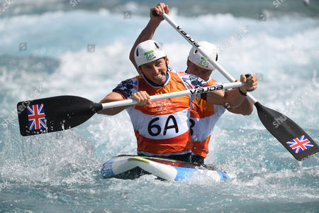 Editorial picture of David Florence And Richard Hounslow Qualify For The Men's Final Of The Canoe Double (c2) At The Whitewater Stadium Rio De Janeiro. Rio Olympics 2016.
