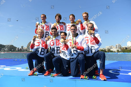 Team Gb Rowing Mens Eight Gold Medallists Scott Durrent Tom Ransley Andrew T Hodge Matt Gotrel Pete Reed Paul Bennett Matt Langridge William Satch Phelan Hill Rio Olympics Brazil./daaiy Mail.