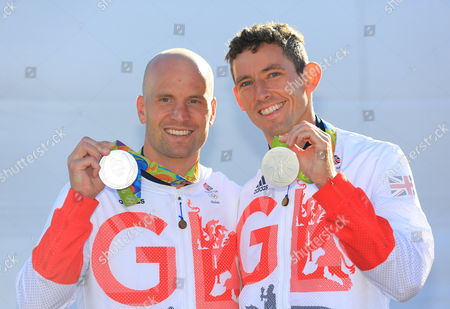Stock Image of David Florence And Richard Hounslow After They Were Awarded The Silver Medal In The Men's Final Of The Canoe Double (c2) At The Whitewater Stadium Rio De Janeiro. Rio Olympics 2016 11.08.16.