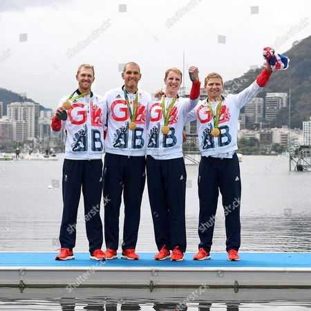 Team Gb Rowing Mo Sibhi Alex Gregory George Nash And Constantine Louloudis Win Gold In The Coxless Four Rio Olympics Brazil./daaiy Mail.