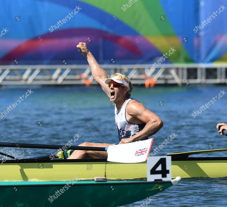 Andrew Triggs Hodge Roars In Triumph. Team Gb Rowing Mens Eight Scott Durrent Tom Ransley Andrew T Hodge Matt Gotrel Pete Reed Paul Bennett Matt Langridge William Satch Phelan Hill Rio Olympics Brazil.