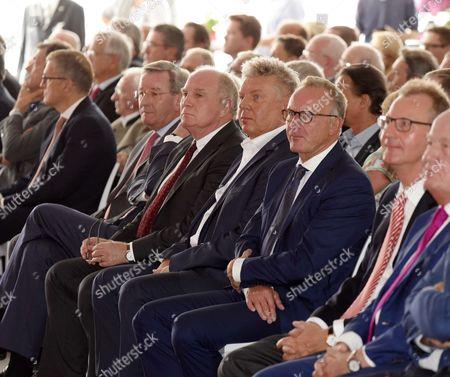 Karl Hopfner (FC Bayern Munich), President Uli Hoeness (FC Bayern), major Dieter Reiter, Karl-Heinz Rummenigge (FC Bayern Munich),