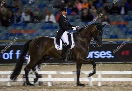 Dorothee Schneider of Germany rides her horse Sammy Davis Jr. during the team dressage final of the FEI European Championships in Gothenburg, Sweden, 22 August 2017.
