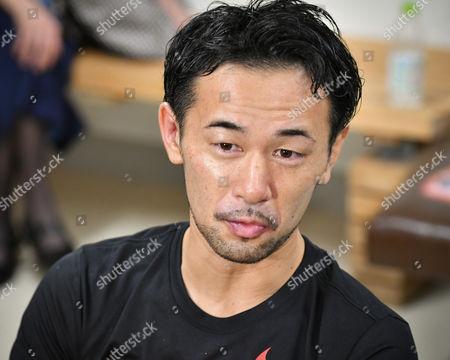 Shinsuke Yamanaka (JPN) - Boxing : Shinsuke Yamanaka of Japan is interviewed by the press after losing the WBC bantamweight title bout at Shimazu Arena Kyoto in Kyoto, Japan.