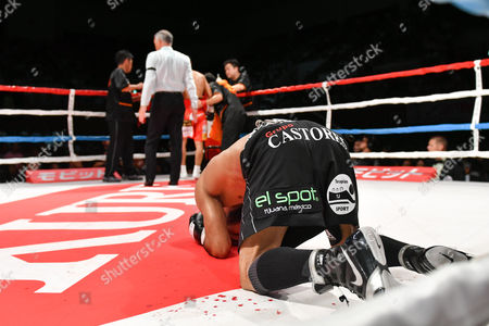 Luis Nery (MEX) - Boxing : Challenger Luis Nery of Mexico celebrates after winning the WBC bantamweight title bout against champion Shinsuke Yamanaka of Japan at Shimazu Arena Kyoto in Kyoto, Japan.