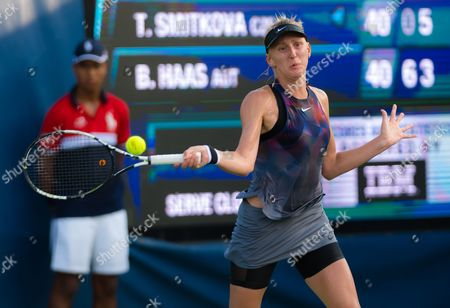 Tereza Smitkova of the Czech Republic in action during the first qualification round at the 2017 US Open Grand Slam tennis tournament
