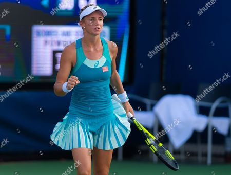Barbara Haas of Austria in action during the first qualification round at the 2017 US Open Grand Slam tennis tournament