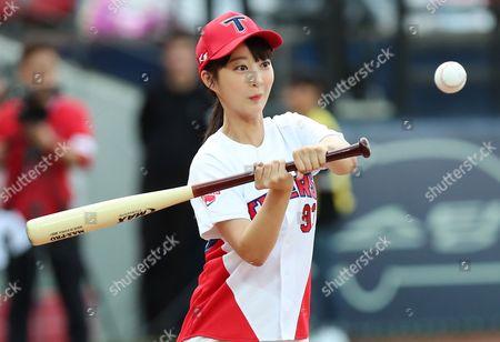 Editorial photo of EXID girl group member Hyelin attends baseball game, Gwangju, Korea - 23 Aug 2017