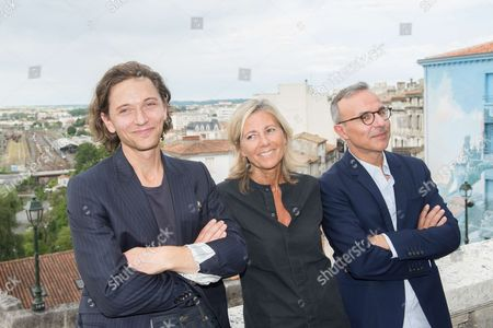Singer Raphael, french journalist Claire Chazal and Philippe Besson