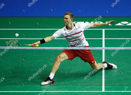Stock Picture of Viktor Axelsen of Denmark in action against Eetu Heino of Finland in the men's singles 3rd round of the BWF Badminton World Championships in Glasgow, Britain, 23 August 2017.