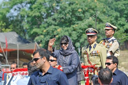Jammu and Kashmir Chief Minister Mehbooba Mufti waves on the occasion of 71st Independence Day Celebrations. Mufti welcomed Prime Minister Narendra Modi's remarks that separatism in Jammu and Kashmir will be defeated by embracing Kashmiris and not by violence.