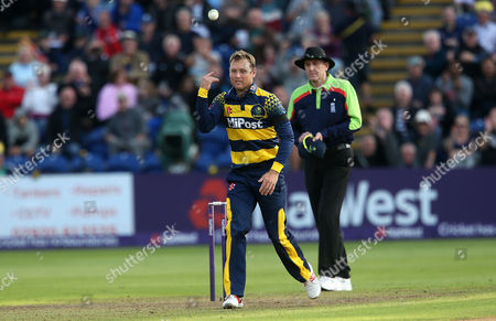 Colin Ingram of Glamorgan celebrates bowling and catching Tom Wells of Leicestershire.