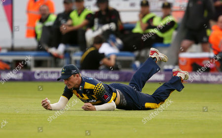 Stock Picture of Aneurin Donald of Glamorgan catches Clint McKay of Leicestershire.