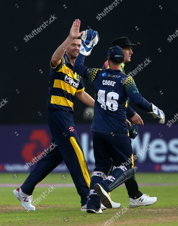 Stock Photo of Michael Hogan of Glamorgan celebrates after Aneurin Donald catches Clint McKay of Leicestershire.