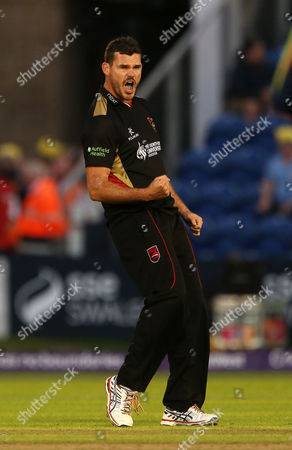 Stock Image of Clint McKay of Leicestershire celebrates taking the wicket of Aneurin Donald.
