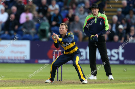 Stock Image of Colin Ingram of Glamorgan catches Tom Wells of Leicestershire.