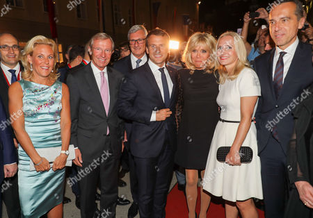 Wilfried Halsauer, wife Christina Halsauer, Emmanuel Macron, Brigitte Macron, Christian Kern, wife Eva Kern and Helga Rabl Stadler