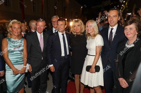 Wilfried Halsauer and wife Christina, Emmanuel Macron, Brigitte Macron, Christian Kern and wife Eva Kern and Helga Rabl Stadler