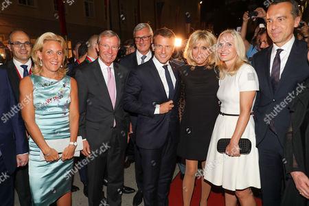 Wilfried Halsauer and wife Christina Halsauer, Emmanuel Macron, Brigitte Macron, Christian Kern and wife Eva Kern and Helga Rabl Stadler