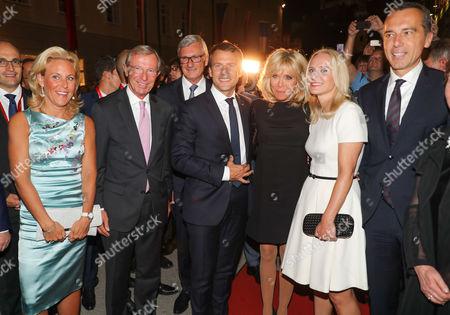 Wilfried Halsauer and wife Christina Halsauer, Emmanuel Macron wife Brigitte Macron, Christian Kern, wife Eva Kern and Helga Rabl Stadler