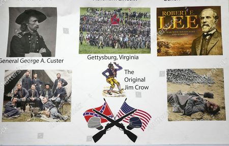 Images about the Civil War, including one of Jim Crow, adorn the lobby of an apartment building, in the Queens borough of New York. New York City Councilman Jimmy Van Bramer is protesting the display of racist and anti-semitic posters in the building. According to the councilman, the building's property manager has posted the images to harass the residents