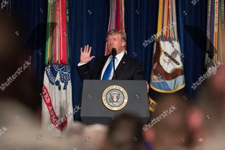 President Donald Trump speaks at Fort Myer in Arlington Va., during a Presidential Address to the Nation about a strategy he believes will best position the U.S. to eventually declare victory in Afghanistan