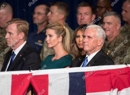 Melania Trump, Ivanka Trump, Patrick Shanahan, Mike Pence From left, Deputy Secretary of Defense Patrick Shanahan, Ivanka Trump, the daughter of President Donald Trump, first lady Melania Trump and Vice President Mike Pence sit together before President Donald Trump arrives to speak at Fort Myer in Arlington Va., during a Presidential Address to the Nation about a strategy he believes will best position the U.S. to eventually declare victory in Afghanistan