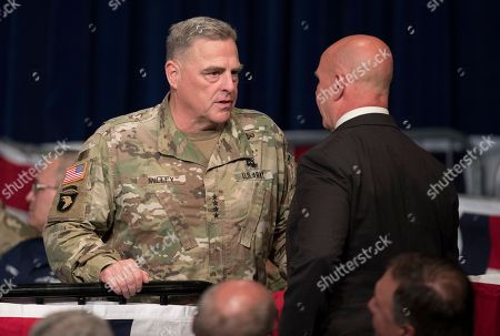 H. R. McMaster, Mark Milley U.S. Army. Gen. Mark Milley, left, talks with National Security Advisor H. R. McMaster before President Donald Trump arrives to speak at Fort Myer in Arlington Va., during a Presidential Address to the Nation about a strategy he believes will best position the U.S. to eventually declare victory in Afghanistan