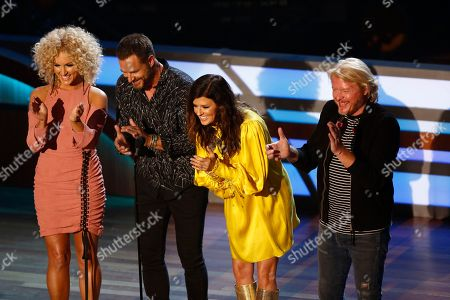 Little Big Town applauds as Songwriter of the Year winner Lori McKenna comes to the stage during the 11th annual ACM Honors at the Ryman Auditorium, in Nashville, Tenn