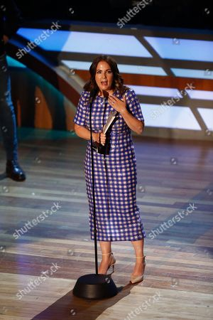 Lori McKenna accepts the Songwriter of the Year award during the 11th annual ACM Honors at the Ryman Auditorium, in Nashville, Tenn
