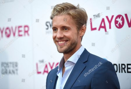 """Matt Barr arrives at the Los Angeles premiere of """"The Layover"""" at the ArcLight Hollywood on"""