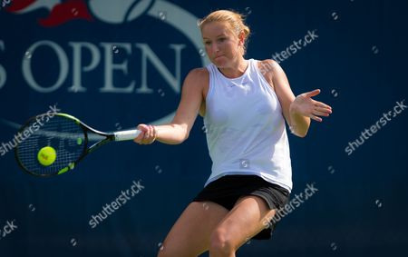 Alla Kudryavtseva of Russia in action during the first qualification round at the 2017 US Open Grand Slam tennis tournament