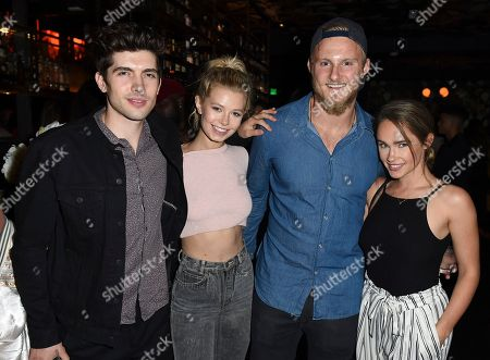 Carter Jenkins, Alexander Ludwig, Kristy Dawn Dinsmore From left, Carter Jenkins and guest, Alexander Ludwig, and Kristy Dawn Dinsmore attend Tings Magazine Launch Party, in Los Angeles