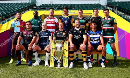 Anthony Watson of Bath Rugby, Jack Nowell of Exeter Chiefs, Ross Moriarty of Gloucester Rugby, Danny Care of Harlequins, Ben Youngs of Leicester Tigers, Topsy Ojo of London Irish, Toby Flood of Newcastle Falcons, Dylan Hartley of Northampton Saints, James O?Connor of Sale Sharks, Jamie George of Saracens James Haskell of Wasps and Donnacha O'Callaghan of Worcester Warriors launch The 2017/18 Aviva Premiership Rugby season
