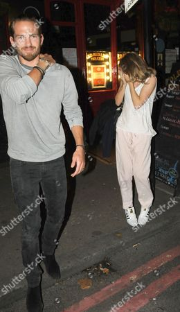Jacobi Anstruther-Gough-Calthorpe and Cressida Bonas leaving the Old Red Lion Theatre in Islington where she is starring in 'Mrs Orwell' play