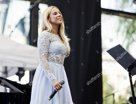 Stock Picture of Singer Krista Siegfrids performs at the opening ceremonies of the STHLM/SUOMI festivities
