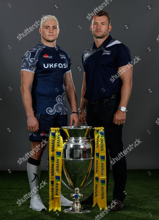 """James O""""Connor of Sale Sharks and Mark Cueto of Sale Sharkes Commercial Director poses for a portrait during the Aviva Premiership Rugby 2017-2018 Season Launch at Twickenham Stadium on August 24, 2017 in London, England. (Photo by Phil Mingo/PPAUK for Aviva)"""