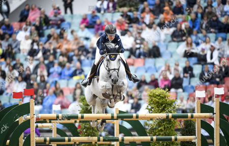 Malin Baryard-Johnsson of Sweden, rides her horse H&M Cue Channa during the team competition jumping event, round 1, at the FEI European Championships in Gothenburg, Sweden, 24 August 2017.