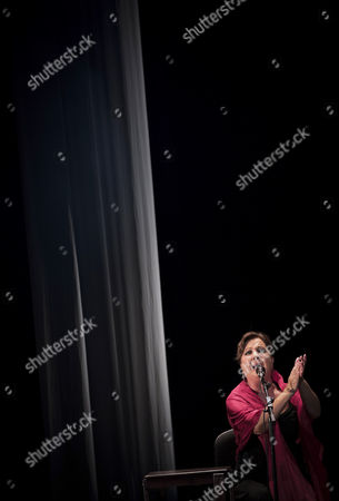 Spanish cantaora Carmen Linares performs on stage at Flamenco on Fire Festival in Pamplona, northern Spain, 24 August 2017.