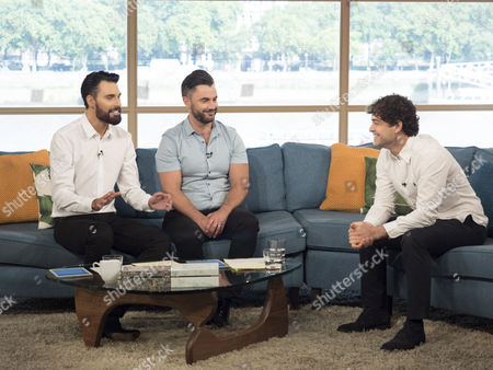 Rylan Clark and his husband Dan Neal with Lee Mead