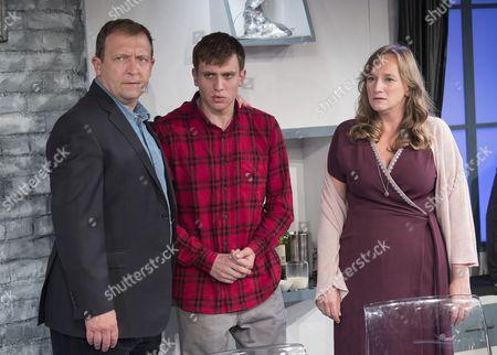 Stock Image of Alex Lowe as Bill, David Leopold as Curtis,  Lisa Stevenson as Tamara,
