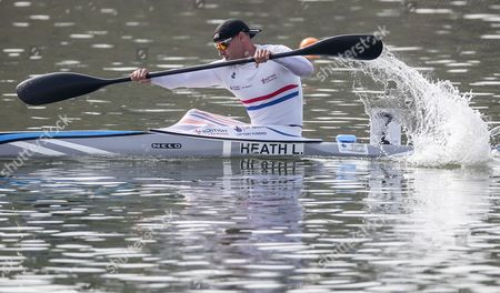 Liam Heath of Great Britain competes in a heat of the K1 men 200m event at the ICF Canoe Sprint World Championships in Racice, Czech Republic, 25 August 2017.
