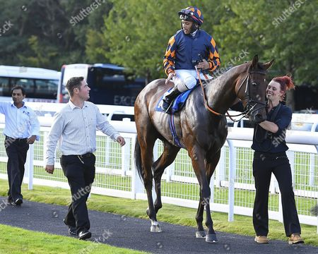 Stock Image of Winner of The Bathwick Tyres Novice Auction Stakes (Plus 10) Bambino Lola ridden by Royston Ffrench and trained by Adam West  is led into the winners enclosure during Evening Racing at Salisbury Racecourse on 25th August 2017