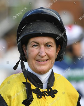 Stock Picture of Jockey Miss S Brotherton during Evening Racing at Salisbury Racecourse on 25th August 2017