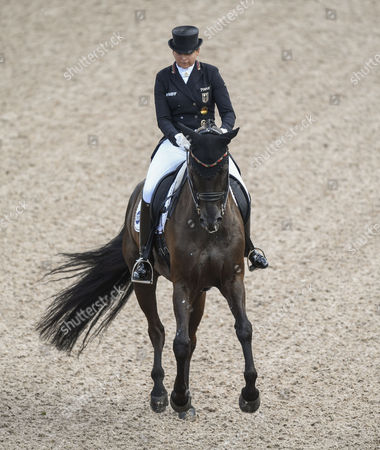 Dorothee Schneider of Germany rides her horse Sammy Davis Jr. during the FEI Grand Prix final dressage competition at the Longines FEI European Championships at Ullevi Stadium in Gothenburg, Sweden, 25 August 2017.