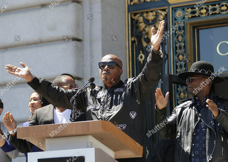 Musician MC Hammer speaks at a rally in San Francisco, ahead of politically conservative rallies scheduled this weekend. Concerned about possible violence, city officials have urged residents to stay away from other gatherings on Saturday and Sunday