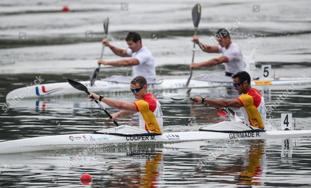 Marcus Cooper Walz (L) and Rodrigo Germande of Spain compete in a final of K2 men 500m race of the ICF Canoe Sprint World Championships in Racice, Czech Republic, 26 August 2017.